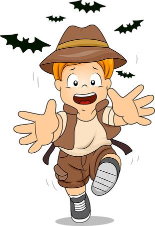frighten: Illustration of Kid Boy Running Away from Bats