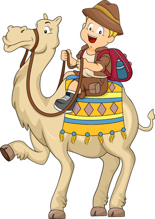 camel: Illustration of Kid Boy Riding a Camel