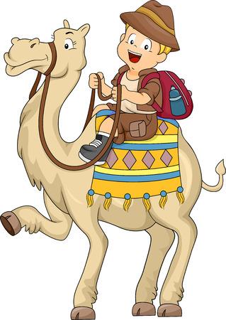 camello: Ilustración de Kid Boy montando un camello