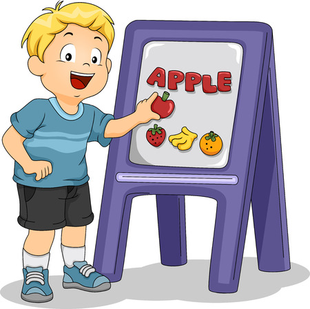 magnetic clip: Illustration of Kid Boy Placing an Apple on Board