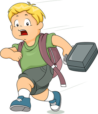 late: Illustration of a Kid Boy Running Late for School Stock Photo