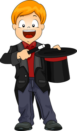 Illustration of Kid Boy Magician with Magic Wand and Hat illustration