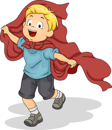 kids costume: Illustration of a Kid Boy Playing Superhero with Red Cloth Superhero Cape