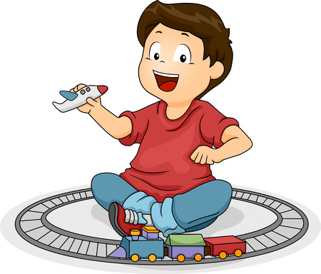 Illustration of a Kid Boy Playng with His Toys Stock Photo