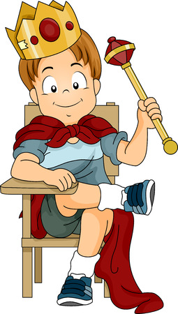 amusment: Illustration of a Kid Boy Dressed as Prince Sitting on a Student Chair
