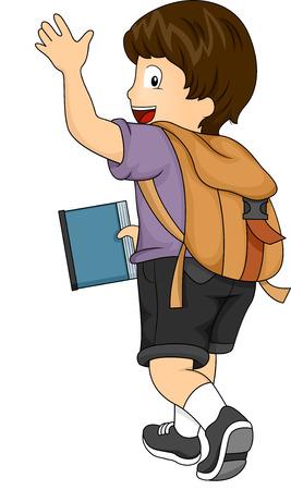 Zijaanzicht Illustratie van een Kid Jongen met rugzak Zwaaien zijn handen