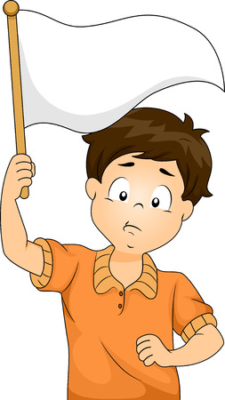 give up: Illustration of Kid Boy Waving a Blank White Flag