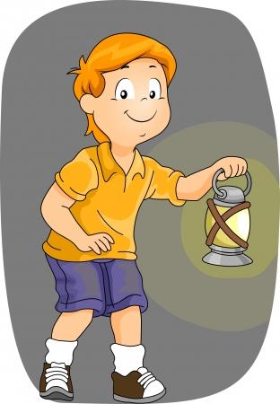 Illustratie van een jongen die een Lamp van de Kerosine tijdens het wandelen in het donker Stockfoto - 22244986