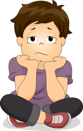 Illustration of a Bored Boy with His Chin Resting on His Hands