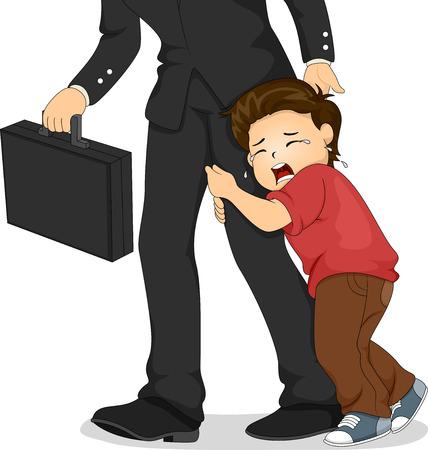 crying boy: Ilustraci�n de un ni�o llorando Cllnging a la pierna de su padre