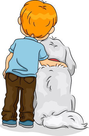 child and dog: Back View of a Boy with His Arm Resting on His Dogs Neck Stock Photo