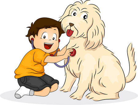 kid doctor: Illustration of a Boy Pressing a Stethoscope Against His Dogs Chest