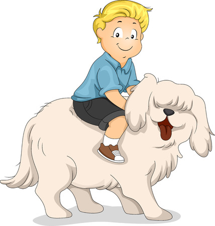 bestfriend: Illustration of a Boy Riding on the Back of a Dog