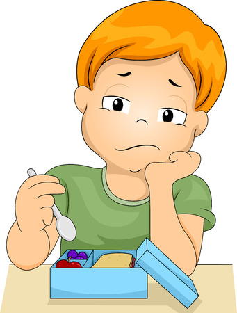 uninterested: Illustration of a Bored Boy Picking at the Food in His Lunchbox