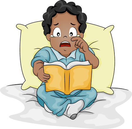 Illustration of an African-American Boy Shedding Tears While Reading a Storybook illustration