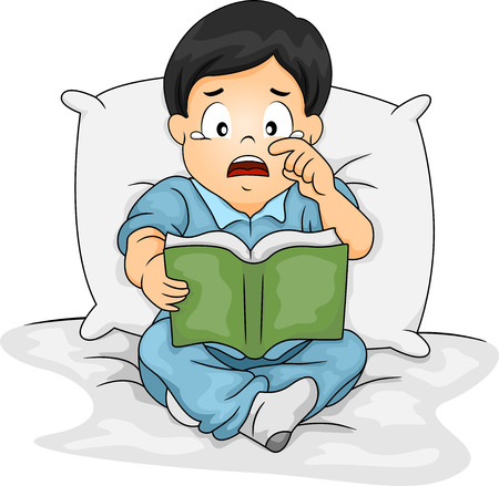 Illustration of an Asian Boy Shedding Tears While Reading a Storybook illustration