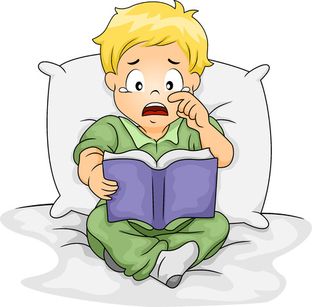 shedding: Illustration of a Caucasian Boy Shedding Tears While Reading a Storybook