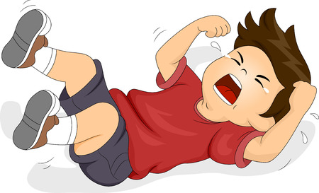 crying child: Illustration of a Boy Rolling on the Floor While Throwing a Tantrum