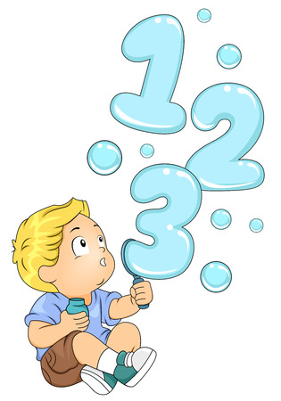 learning materials: Illustration of a Kid Playing with a Bubble Maker Spouting 123