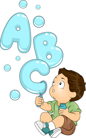 reading materials: Illustration of a Kid Playing with a Bubble Maker Spouting Letters of the Alphabet