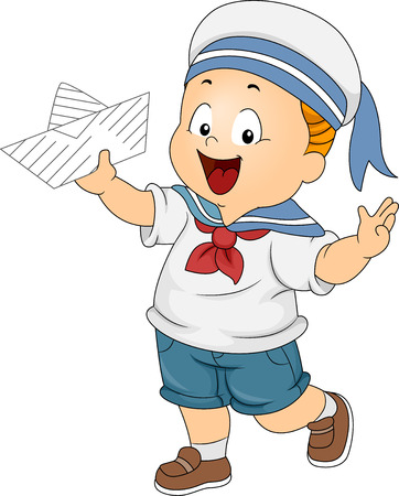 Illustration of a Boy Wearing a Sailors Costume and Holding a Paper Boat