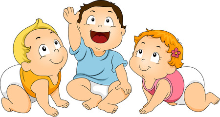 baby: Illustration of a Group of Toddlers Huddled Together While Looking Upward Stock Photo