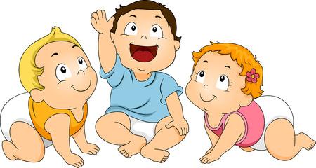 niño: Ilustración de un grupo de niños pequeños acurrucados Mientras mira hacia arriba