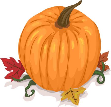 cartoon autumn: Illustration of a Pumpkin Sitting on Top of Maple Leaves