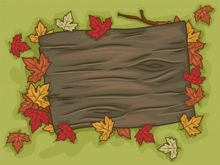 Illustration of a Blank Signboard Surrounded by Autumn Leaves illustration