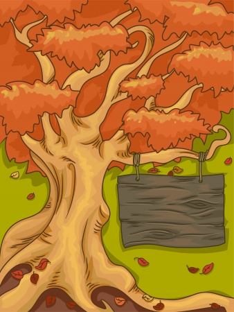 autumn scene: Illustration of a an Autumn Tree with a Signboard Hanging from One of the Branches