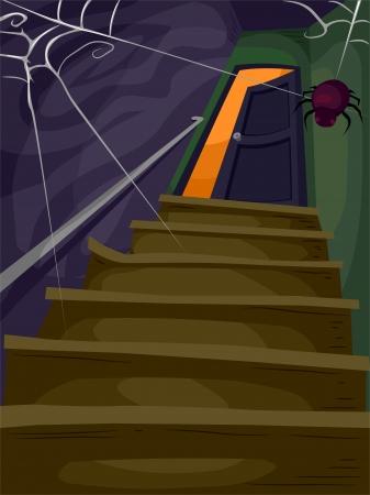 Halloween Illustratie van een trap Gevuld met Spinnenwebben leidt tot een Spooky Zolder