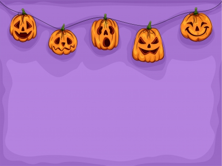 pumpkin border: Halloween Illustration of Pumpkin Heads Wearing Different Expressions Connected by a String