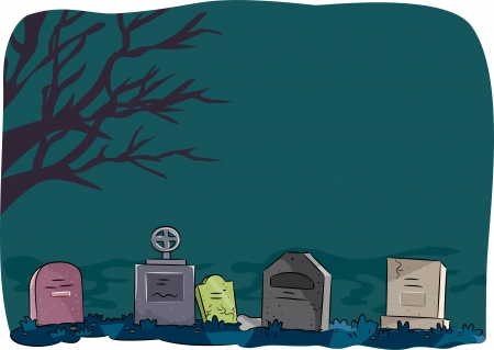 lined up: Halloween Illustration Featuring Tombstones Lined Up in a Cemetery Stock Photo
