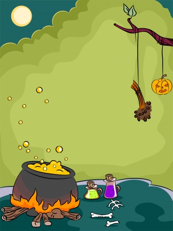 Halloween Illustration of a Cauldron Filled with Boiling Chemicals illustration