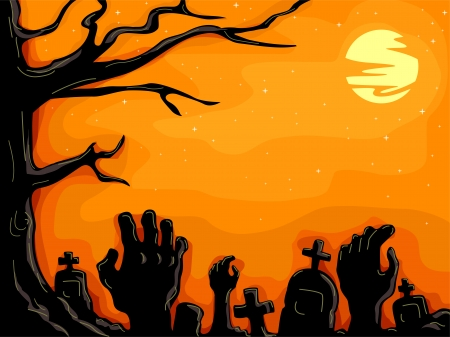 protruding: Halloween Illustration of Hands Protruding from the Ground in a Creepy Graveyard Stock Photo