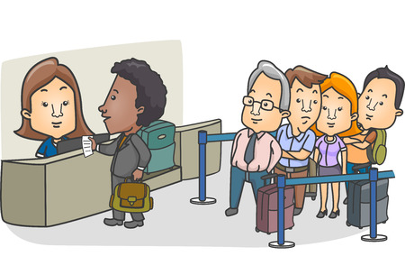 to queue: Illustration of a Queue of Passengers Lined Up in Front of the Check-in Counter