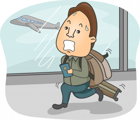 rushing: Illustration of a Man with Luggage in Tow Trying to Catch His Flight Stock Photo