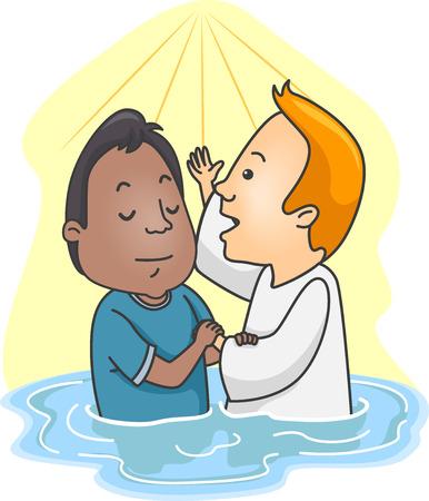 Ilustración de un hombre que es bautizado en agua