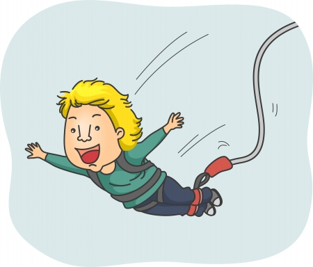 strapped: Illustration of a Man Strapped in a Harness Happily Doing a Bungee Jump