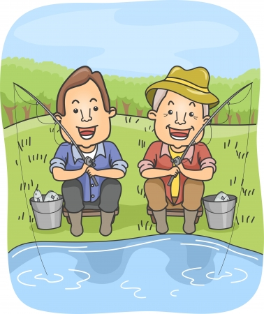 Illustration of a Father and Son Holding Fishing Rods While Waiting for More Catch illustration