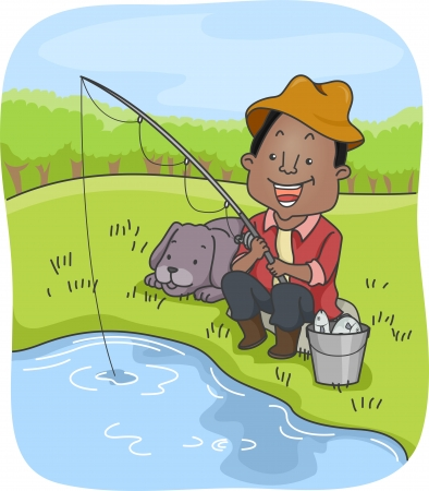 bestfriend: Illustration of an African-American Man Out Fishing with His Dog Stock Photo