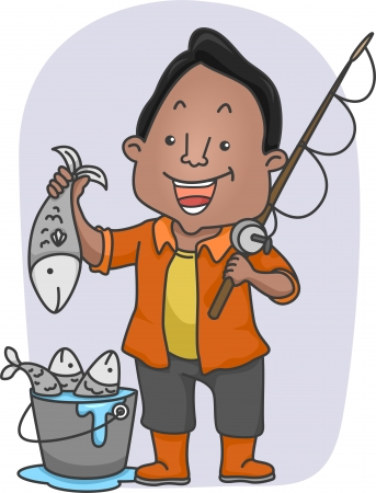 Illustration of an African American Man Holding a Fishing Rod in One Hand and a Fish on the Other illustration