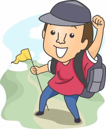 Illustration of a Man Dressed in Camping Gear and Holding a Flag While Out Hiking illustration