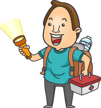 emergency kit: Illustration of a Man Holding a Flashlight, Emergency Kit, and Other Emergency Supplies