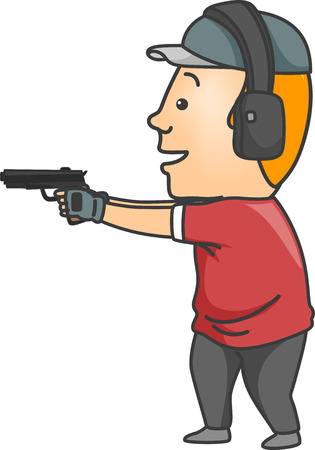 firing: Illustration of a Man Wearing a Pair of Ear Muffs While Firing a Gun Stock Photo