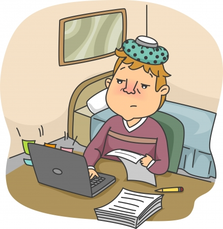 flushed: Illustration of a Flushed Man with an Ice Pack on His Head Typing on His Computer While Sick