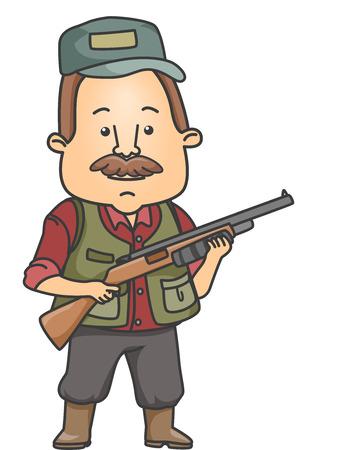 Illustratie van een man, gekleed in Toestel Hunting Het dragen van een geweer Stockfoto