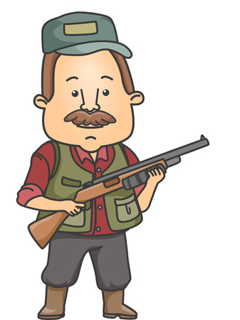 hunter: Illustration of a Man Dressed in Hunting Gear Carrying a Rifle Stock Photo