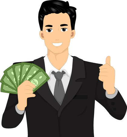 peoples: Illustration of a Man Flashing a Thumbs Up While Holding Dollar Bills