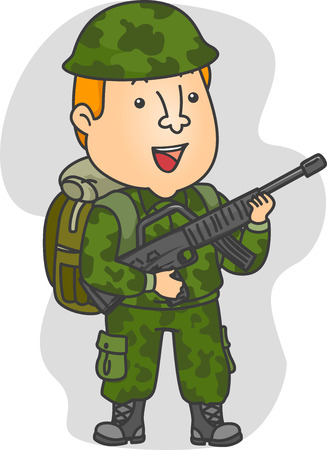 tired cartoon: Illustration of a Man Wearing Camouflage Uniform Carrying a Rifle Stock Photo